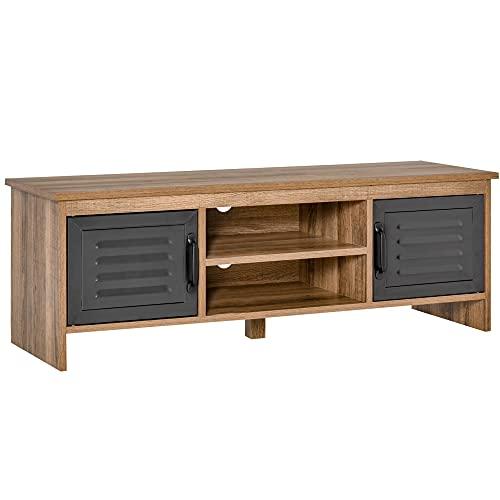 HOMCOM Mueble de TV para Televisores de 42' con 2 Compartimentos Cerrados con Puertas de Metal y 2 Estantes Abiertos 109x35x38 cm Madera Natural y Gris