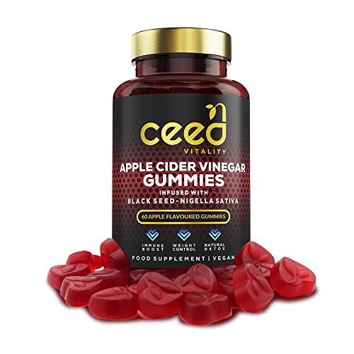 CEED Vitality Worlds First Apple Cider Vinegar Gummies with Black Seed (Nigella Sativa) | Unfiltered with 'The Mother' 1000mg | Vitamin B12 | Vegan | Keto | Immunity | Weight Loss | Apple Flavor