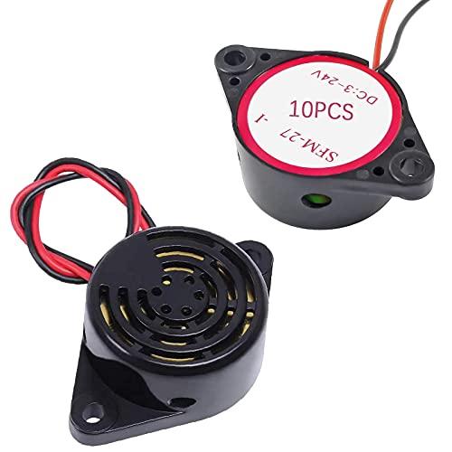 GZLCEU 10 unidades Piezo Buzzer, tono permanente electrónico, 3 V 24 V, para ordenador, impresora, vehículo, sistema de alarma