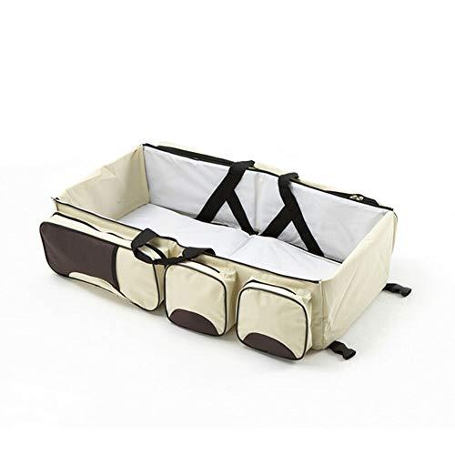 Fetcoi Sac à langer multifonction 3 en 1 pour bébé avec poches multiples - Portable et convertible - Lit bébé - Sac de voyage confortable - Matelas à langer - Beige