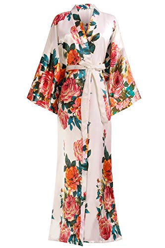 "BABEYOND Kimono Robe Long Floral Bridesmaid Wedding Bachelorette Party Robe 53"" (Pink) Nevada"
