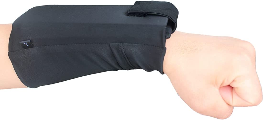 Wrist Bag for All Mobile Phone Sport Armband for Running 2 Pocket Wallet Cell Phone Wristband for Gym Workouts, Cycling, Yoga and Hiking (Black, M)