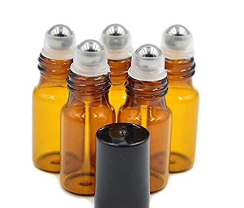 12 botellas de cristal color ámbar recargables de 3 ml con bolas y tapas negras para aromaterapia, perfumes y aceites esenciales