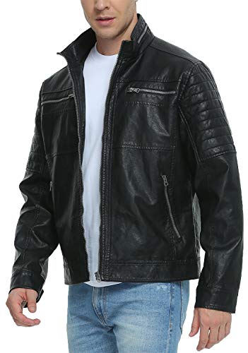 Fahsyee Leather Jackets for Men, Faux Motorcycle Vintage Black Biker Stand Collar Outwear Punk Zip-Up Coat XXL