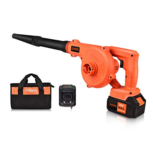 JUEMEL 20V Cordless Leaf Blower with 4.0 Ah Battery, 2 in 1 Sweeper/Vacuum Variable Speed Electric Leaf Blower for Blowing Leaf/Snow, Computer Host, Work Around The House