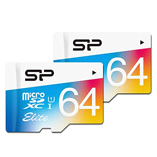 Silicon Power 2-Pack 64GB MicroSDXC UHS-1 Class10, Elite Flash Memory Card with Adapter (S2064GBSTXBU1V20AD)