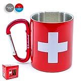 TopSpirit® Doppelwandige Edelstahltasse Thermobecher Switzerland mit Karabiner - Edelstahl Tasse - Thermotasse rot 180 ml
