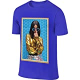 PORRO New Personalized Cardi B Photo Fashion Funny T Shirts Short Sleeve for Man Blue L