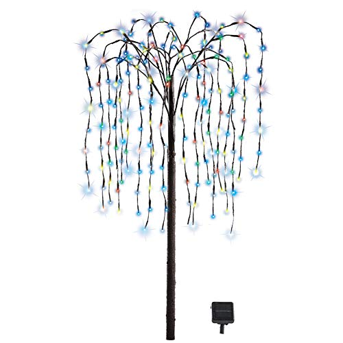 Collections Etc. LED Solar Willow Tree, Outdoor Solar Tree with Colorful Solar-Powered Lights with Adjustable Branches, Multi Color Lights