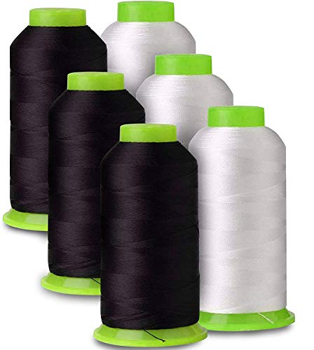 6-Pack of 6000 Yards (Each) White & Black Serger Cone Thread All Purpose Sewing Thread Polyester Spools Overlock (Serger,Over Lock, Merrow, Single Needle)