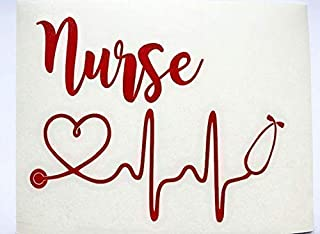 Registered Nurse Stethoscope Heart Vinyl Decal   RN Sticker for Yeti Cup, Tumbler, Car, Truck, SUV, Laptop   Gifts for Nurse   Red, 3 inches x 4 inches