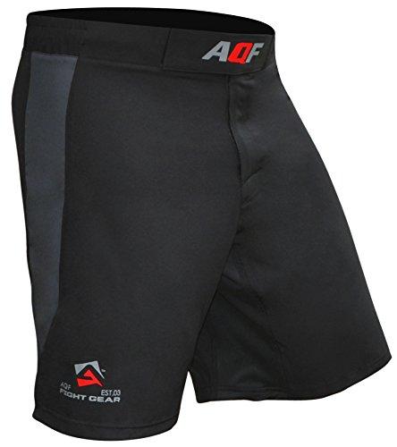 AQF Combat MMA Shorts UFC Cage Fighting Grappling Kick Boxing Gym Short 4-Wege Stretch Moisture Wicking Training Shorts (L)