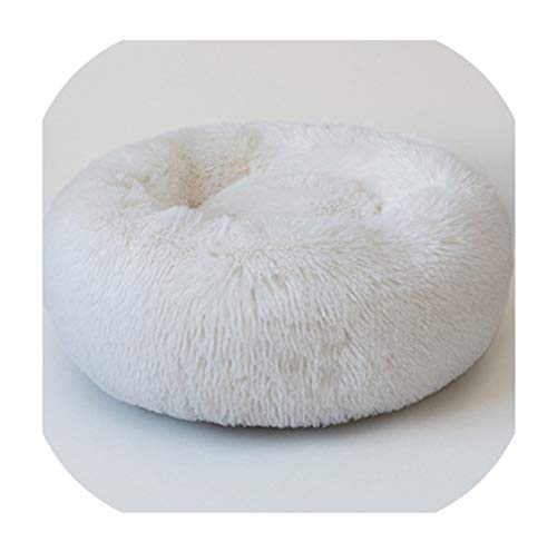 Gentle Illusion Round Plush Cat Bed House Soft Long Plush Cat Bed Round Pet Dog Bed for Small Dogs Cats Nest Winter Warm Sleeping Bed Puppy Mat,1,60Cm