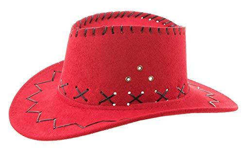 Kinder Cowboyhut mit Ziernähten - Rot - Toller Westernhut zum Kostüm