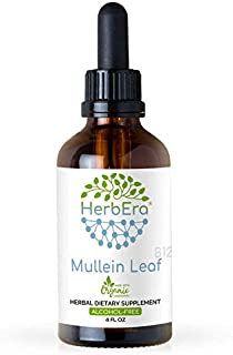 Mullein Leaf B120 Alcohol-Free Herbal Extract Tincture, Super-Concentrated Organic Mullein (Verbascum Densiflorum) Dried L...