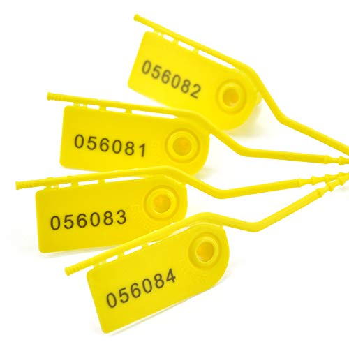 100 Pull Tight Security Seals Tamper Plastic Numbered Tags Fire Extinguisher Seal Self Locking Disposable Zip-Ties Adjustable Length for Clothes, Shoes and Bags 210mm Yellow