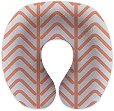 wendana Stripe Coral White Travel Pillows Children Neck Pillows Memory Foam Neck Pillows for Airplanes for Sleeping Christmas Gifts Birthday Gifts