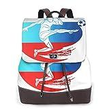 SGSKJ Rucksack Damen Fußballfahne Russland, Leder Rucksack Damen 13 Inch Laptop Rucksack Frauen Leder Schultasche Casual Daypack Schulrucksäcke Tasche Schulranzen