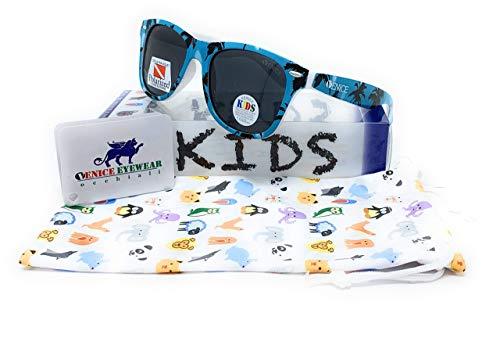 VENICE EYEWEAR OCCHIALI Gafas de sol Polarizadas para niño - protección 100% UV400 - Disponible en varios colores (Azul Palmeras)