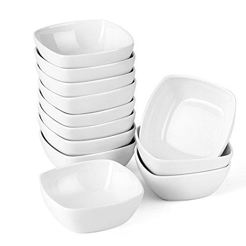 MALACASA, Serie Ramekin.Dish 12pcs Vajillas de Porcelana (10 x 10 x 3,5 cm) Super Mini Tazón de Postre Aperitivo Tazón de Postre Marfil Blanco