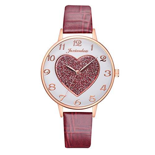 JZDH Relojes para Mujer Moda Casual Relojes de Mujer Correa de Cuero Número árabe Vestido Vestido Elegante Ladies Cuarzo Reloj de Pulsera Relojes Decorativos Casuales para Niñas Damas (Color : E)