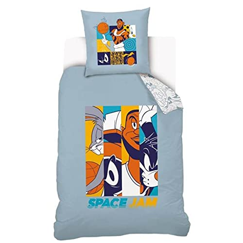 Warner Bros Space Jam Comics - Funda de edredón para cama individual, 140 x 200 cm, 100% algodón,...