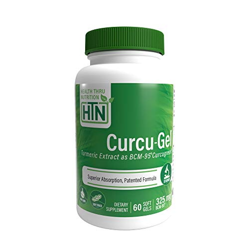 Curcu-Gel 325mg BCM-95 High Absorption Bio - Curcumin Complex - Soy-Free - Non GMO (250mg Total Curcuminoids with Essential Oils of Turmeric Rhizome) 60 Softgels (60)