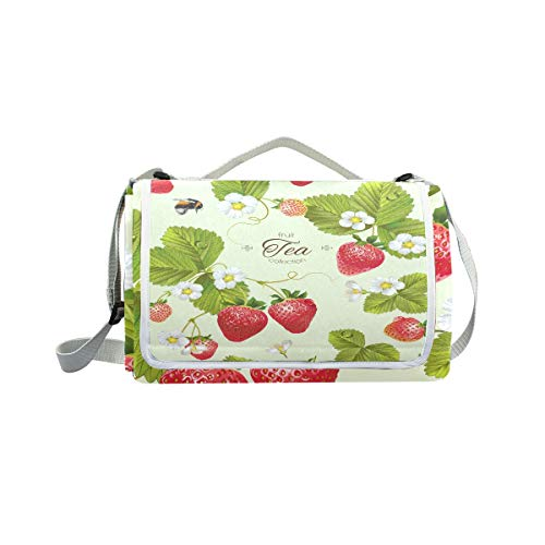 jeansame Picknick-Matte mit Erdbeer-Tee, Obstbien, Picknick-Decke für Outdoor-Aktivitäten, Wandern, Yoga, wasserdicht, tragbar, faltbar, 150 x 145 cm