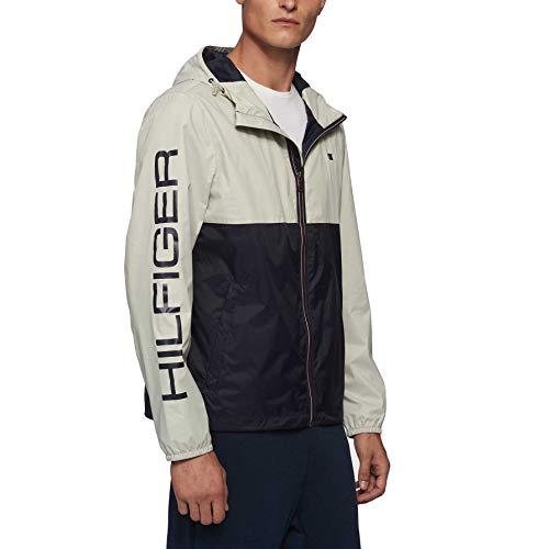 Tommy Hilfiger Men's Lightweight Active Water Resistant Hooded Rain Jacket, Ice/Navy Colorblock, Medium