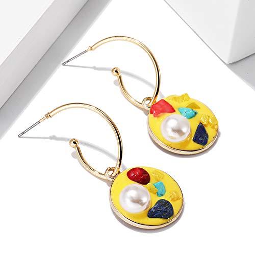 Burenqi Oorbel Vierkant Snoep Kleur Dangel Oorbel Parel Turkoois Grind Oor Haak Vrouwelijke Leuke Oorbellen Sieraden Ornamenten Accessoires