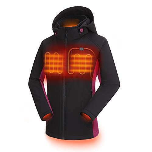 ORORO Women's Slim Fit Heated Jacket with Battery Pack and Detachable Hood (Black/Purple,S)