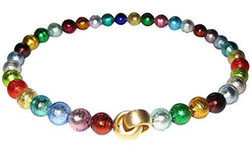 Goldschmiede-Arbeit kostbar stilvoll Murano-Kette Collier Perlen Handarbeit echtes Murano-Glas Klapp-Schließe Sterling-Silber gold-plattiert 585