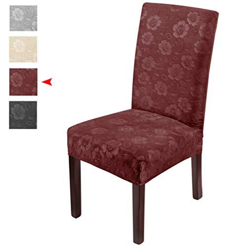LUOLLOVE Stuhlhussen,Blumenmuster Samt Stretch Stuhlhusse,Spandex Waschbare Stuhlbezug,Stuhlhussen Schwingstühle(4er-Rot)