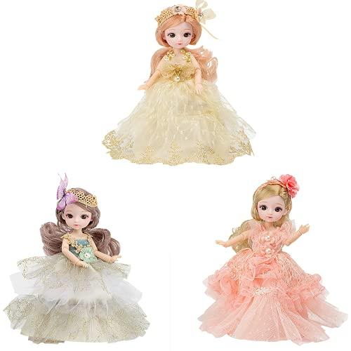 3 piezas hechas a mano princesa noche vestido de fiesta para niños, conjunto de muñecas de 8 pulgadas, 13 articulaciones móviles, 20 cm de altura, el regalo ideal de fiesta de Navidad para niñas