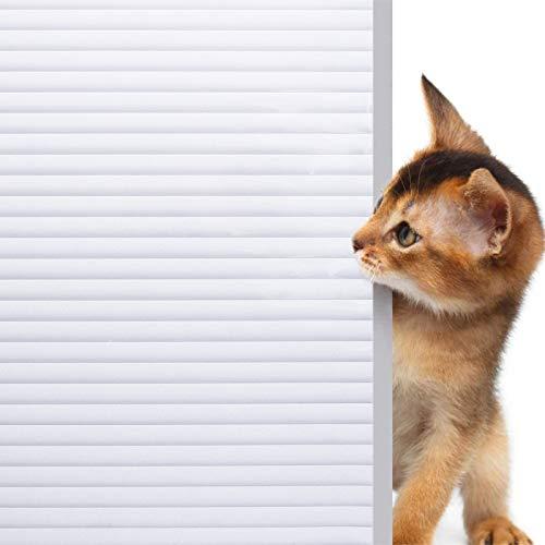 rabbitgoo Fensterfolie Streifen Blickdicht Sichtschutzfolie Fenster Statische Selbstklebend Milchglasfolie ohne Klebstoff gestreift Klebefolie für Büro Zuhause Anti-UV Dekofolie 90x200CM