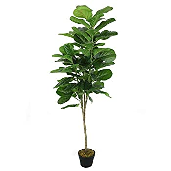 VIAGDO Artificial Fiddle Leaf Fig Tree 5ft Fake Ficus Lyrata Plant with Pot 70 Leaves Faux Fig Tree Indoor Decor Artificial Fiddle Leaf Decorative Fake Ficus Silk Tree for Living Room Home Office