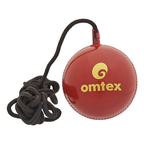 Omtex Cricket Ball Hanging and Knocking Ball with Cord for Batting Practice Size:5.5 Diameter 2.5 Cms