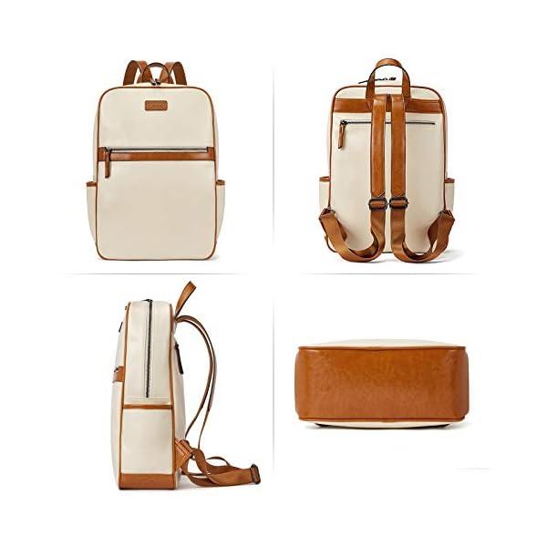 BROMEN Laptop Backpack for Women Leather 15.6 inch Computer Backpack Business Large Travel Daypack Bag 3