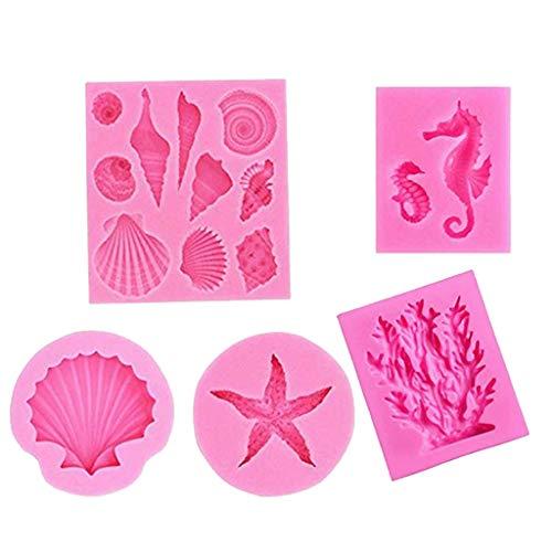 12shage 5pcs Seashell Silicone Fondant Moule Big Sea Shells Chocolat Bonbons Étoile De Mer Hippocampe Moule De Corail pour océan Thème Mariage De Gâteau De Fête d'anniversaire