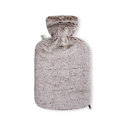 Borsa d'Acqua Calda da 2 litri in PVC grigia con fodera in Visone sintetico di alta qualità e cerniera - Modello 2020