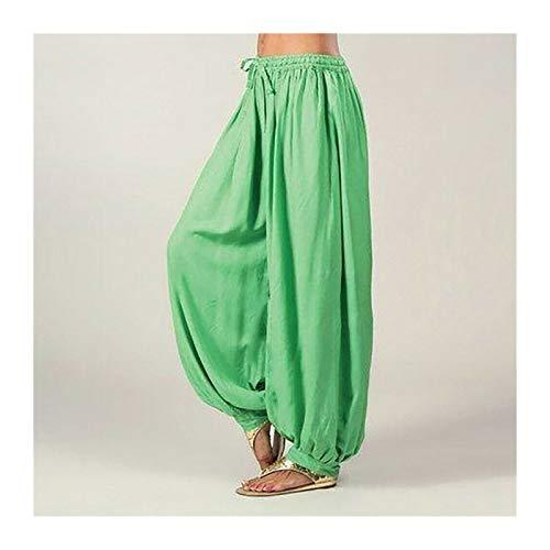 Casuales Mujeres Harem Pantalones Deportes Hippie Hippie Entrenamiento Pantalón Suelto Pantalones Sweatpants Solid Sports Pantalones Sueltos Danza Suave (Color : Green, Size : M.)