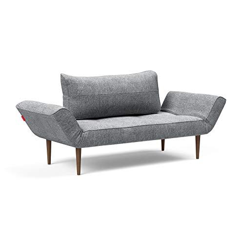 Innovation Zeal Styletto Schlafsofa 200x72cm, grau Stoff 565 Twist Granite BxHxT 178-200x75x72cm Beine Holz dunkel