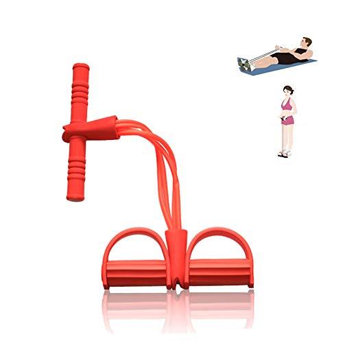 Qplcdg Fitness-Zugseil,Pedal Zugseil Körper 4 Tube Übungsgerät Bodybuilding Zugseil Bauchbein Oberschenkel Arme Muskeln Bauch. (Rot)