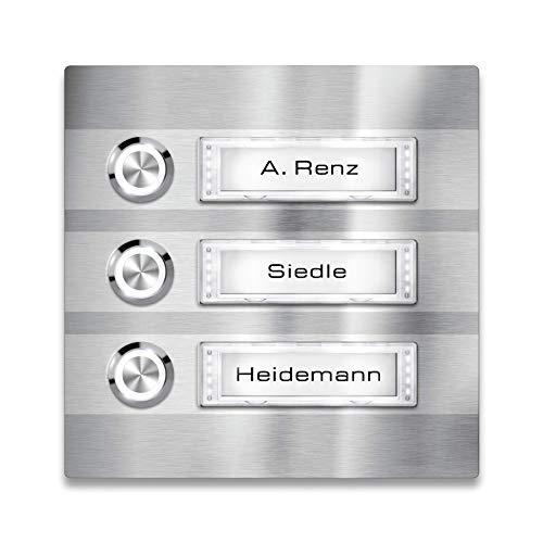 Türklingel - 3-fach Klingelplatte Edelstahl - Namensschild austauschbar - LED-Taster & Beleuchtung (optional) (Namensschild mit Beleuchtung, LED-Taster Weiß)