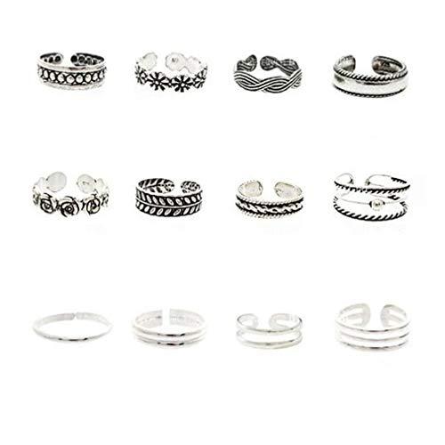 Pinhan Juego de 12 anillos para dedo del pie de tono plateado para mujeres, niñas, vintage, tallado, hueco, ajustable, anillo abierto