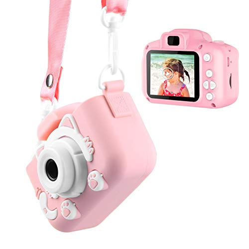 Enouvos Kids Camera for Girls Gifts HD 2.0 Inches Screen Kids Video Camera Anti-Drop Children Selfie Toy Camera Mini Cartoon Child Camcorder for 3-14-Year-Old (Pink)