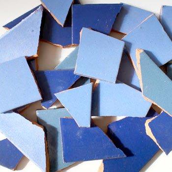 4 kg Bruchmosaik, Mosaikfliesen aus handgefertigten Fliesen - Blautöne, Blau - Großmenge