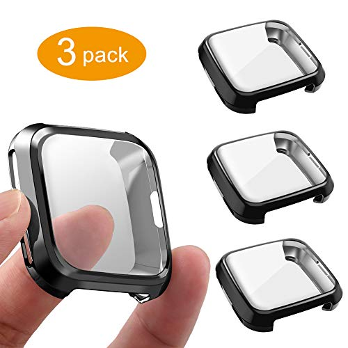 3 Packs Screen Protector Compatible with Fitbit Versa Case, GHIJKL Ultra-Thin Slim Soft TPU Gradient Color Case All-Around Protective Cover Bumper Shell for Fitbit Versa, Black/Black/Black