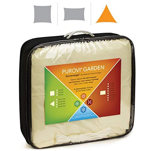 Purovi® Sonnensegel Dreieck | Verschiedene Größen | UV Schutz | wasserabweisendes PES | Größe 4 x 4 x 4m
