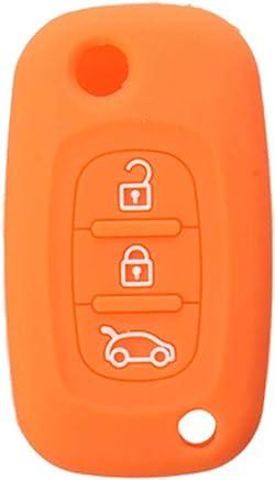 JenNiFer 3 Botones Silicona Flip Llave Caja Fob para Renault Clio Kangoo Megane Modus - Naranja